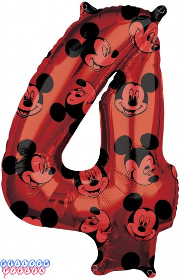 Mickey Mouse Fourth Birthday Red and Black Forever 26 inch Mylar Balloon