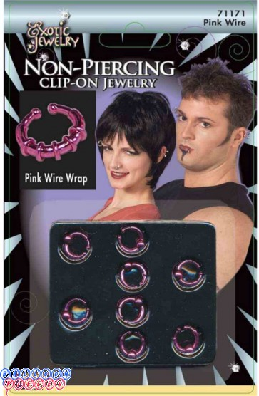 Body Piercing Ball Ring Pink Wire Wrap