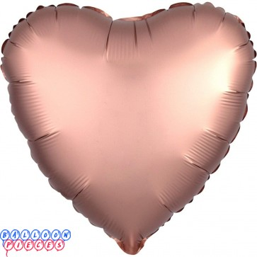"""Satin Luxe Rose Copper 18"""" Solid Color Heart Shape Foil Balloon"""