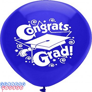 PartyMate Congrats Grad Printed 12-Inch Latex Balloons, 8-Count, Regal Purple