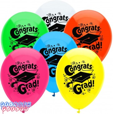 PartyMate Congrats Grad Printed 12 inch Latex Balloons Assorted Colors