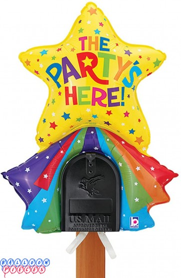 The Party's Here Star and Rainbow Mailbox Balloon