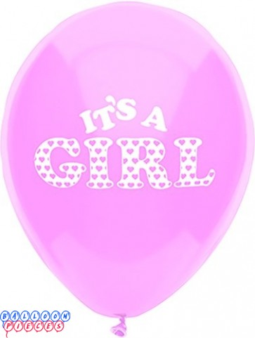 It's a Girl Real Pink 12inch Printed Latex Balloons 8ct