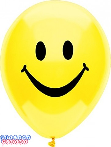 Smiley Face Sun Yellow 12' Printed Latex Balloons 8ct