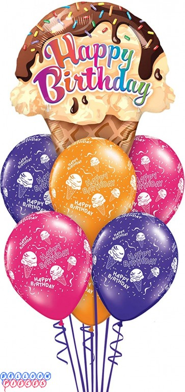 Happy Birthday Ice Cream Cone balloon Bouquet