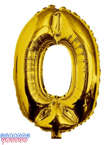 Giant Number 0 Gold Mylar Balloon 40in