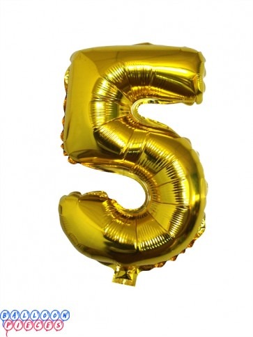 Giant Number 5 Gold Mylar Balloon 40in