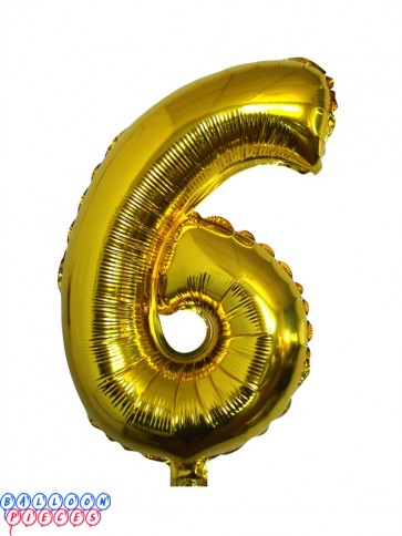 Giant Number 6 Gold Mylar Balloon 40in