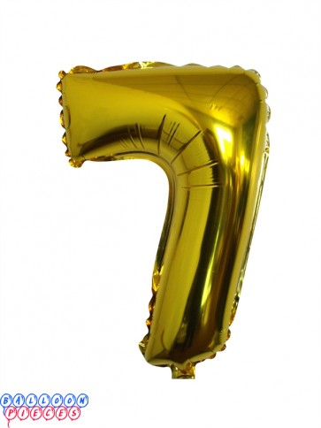 Giant Number 7 Gold Mylar Balloon 40in