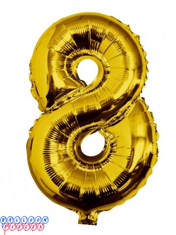 Giant Number 8 Gold Mylar Balloon 40in
