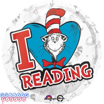 """Dr Seuss 18"""" Hats Off to Reading Foil Balloon"""