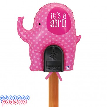 """Welcome Home Baby - It's a Girl Pink Elephant Mailbox 31"""" Foil Balloon"""