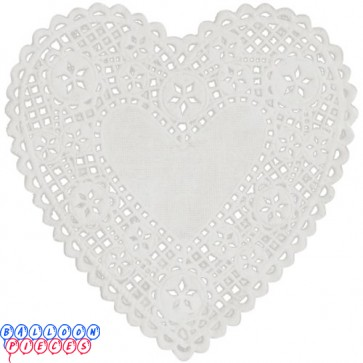 "Royal Lace 4"" White Lace Heart Paper Doilies"