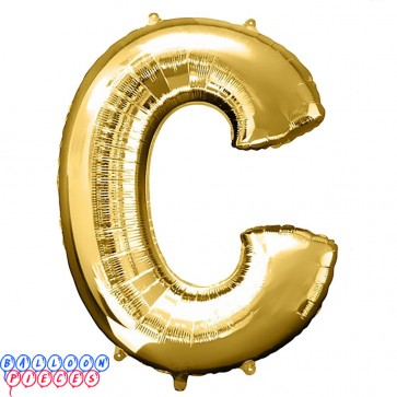 Giant Letter C Gold Mylar Balloon 40in