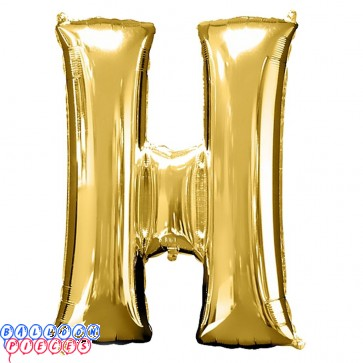 Giant Letter H Gold Mylar Balloon 40in