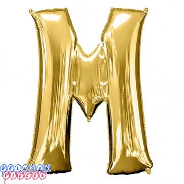 Giant Letter M Gold Mylar Balloon 40in