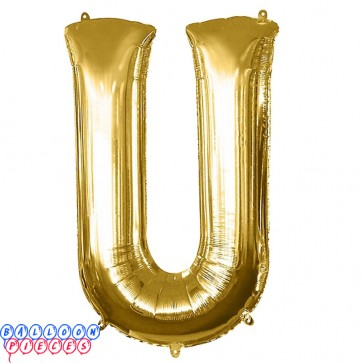 Giant Letter U Gold Mylar Balloon 40in