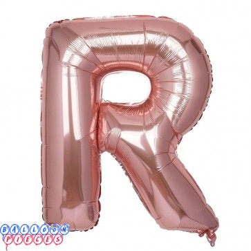 Giant Letter R Rose Gold Mylar Balloon 40in