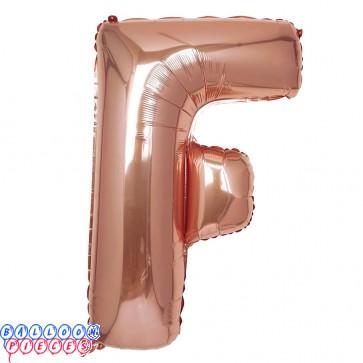 Giant Letter F Rose Gold Mylar Balloon 40in