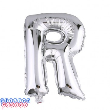 Giant Letter R Silver Mylar Balloon 40in