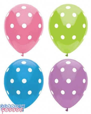 Dots Around 12 inch Printed Round Latex Balloons 6ct