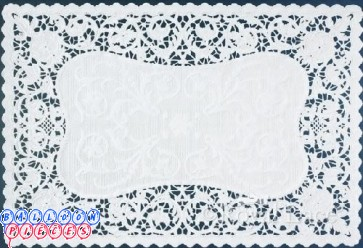"Royal Lace Bobbin Lace White Paper French Placemats 9.75""x14.5"""