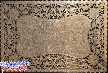 "Royal Lace Bobbin Lace Gold Foil French Placemats 9.75""x14.5"""