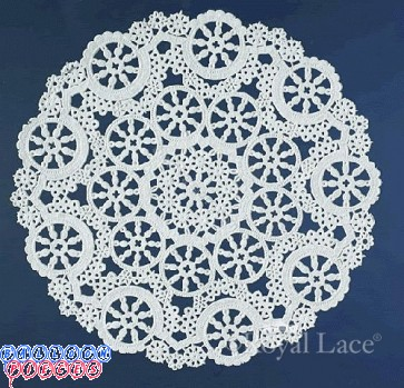 "Royal Lace Medallion 4"" White Round Lace Paper Doilies"