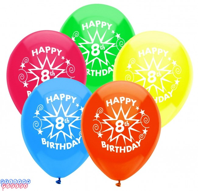 8th Birthday Party 12 Inch Latex Balloons 8ct
