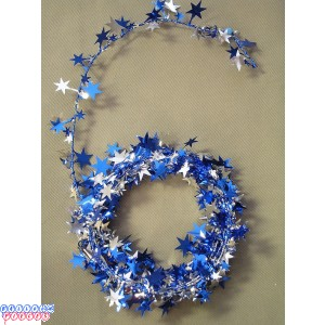 Blue & Silver Star 12' Wire Garland