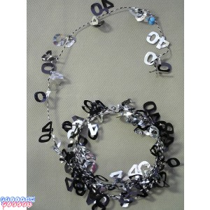 Black & Silver 9' 40th Wire Garland