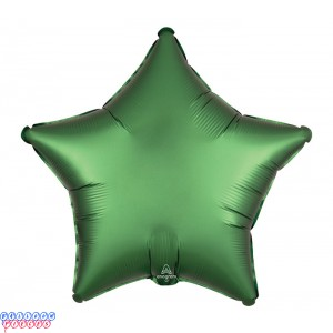 "Satin Luxe Emerald Green 18"" Solid Color Star Shape Foil Balloon"