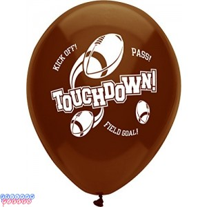 "Football Touchdown 12"" Printed Latex Balloons"