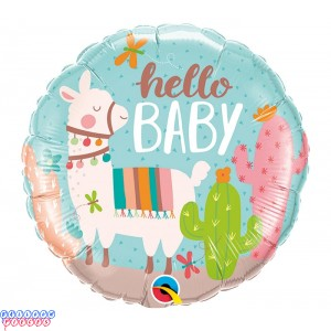 """Hello Baby Llama 18"""" Mylar Balloon"""