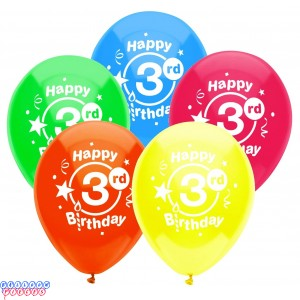 3rd Birthday Party 12 inch Latex Balloons 8ct