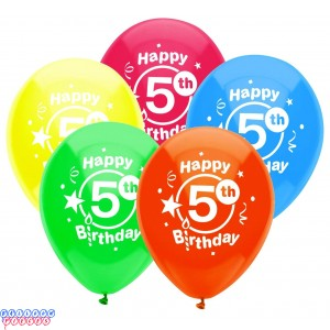 5th Birthday Party 12 inch Latex Balloons 8ct
