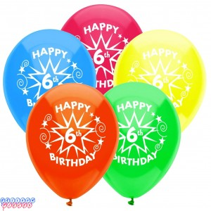 6th Birthday Party 12 inch Latex Balloons 8ct
