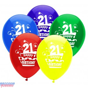 21st Birthday Cake 12 inch Latex Balloons 8ct