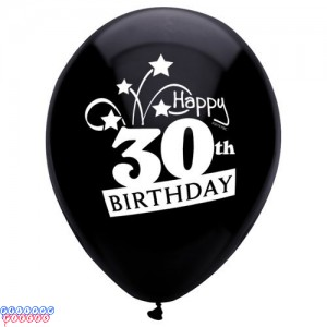30th Birthday Shooting Stars 12 inch Latex Balloons 8ct