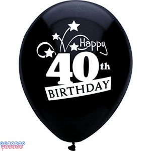40th Birthday Shooting Stars 12 inch Latex Balloons 8ct