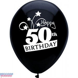 50th Birthday Shooting Stars 12 inch Latex Balloons 8ct