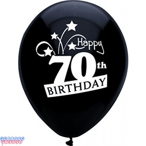 70th Birthday Shooting Stars 12 inch Latex Balloons 8ct