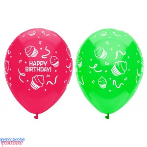 Happy Birthday Cupcakes Around 12 inch Latex Balloons 6ct