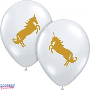 Gold Unicorn 11inch Printed Latex Balloons