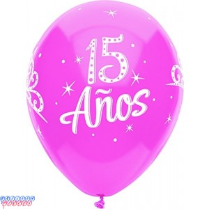 15 Anos Around 12 inch Latex Balloons 6ct