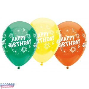 Happy Birthday Burst 12 inch Latex Balloons 6ct