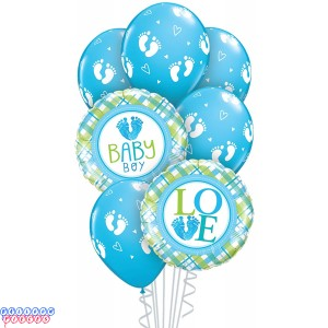 Baby Boy Foot Prints Balloon Bouquet