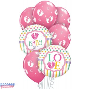 Baby Girl Foot Prints Balloon Bouquet