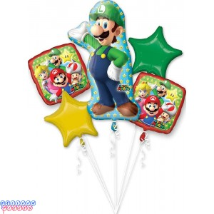 Giant Luigi Birthday Balloon Bouquet 5pc - Super Mario