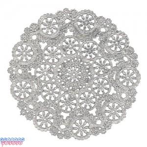 """Royal Lace Medallion 4"""" Silver Round Foil Paper Doilies"""